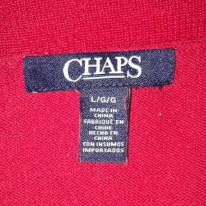 Chaps Sweaters - Red Cropped Cardigan